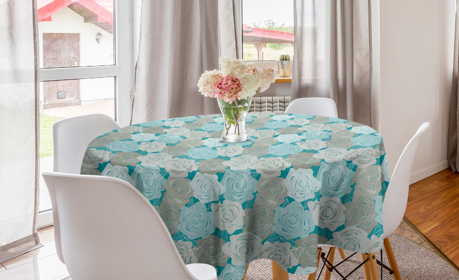 """Tablecloth Pink or blue Rose flowers 60/"""" Round Fall decor farm to table Rect"""