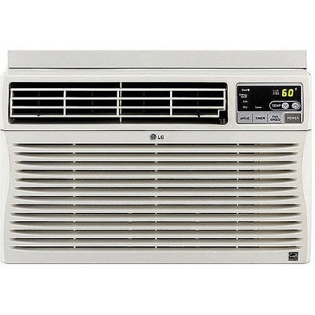 LG Electronics LW1012ER High Efficiency 10,000-BTU Room Window Air Conditioner LG 10,000-BTU Window Air Conditioner:10,000 BTU rating is suitable for up to 450-square-foot roomsHigh Efficiency qualified appliances incorporate advanced technologies that use 10 to 50 percent less energy and water than standard modelsTilt-out, easy-clean mesh filter8.5A115V/930W power3 cooling and 3 fan speeds4-way air directionLG 10,000-BTU window air conditioner includes a remote control24-hour on/off timerIncludes installation kitAccommodates windows from 15.5  wide to 40.5  tall1-year parts and labor warrantyLG air conditioner model #LW1012ER