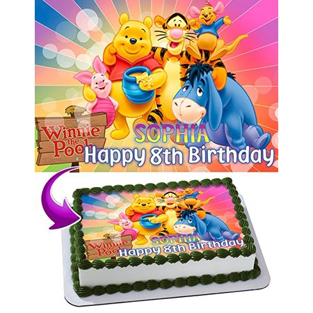 Winnie The Pooh Cake Image Personalized Topper Edible Image Cake