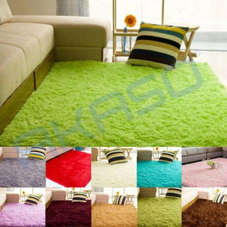 super soft modern shag area rug living room carpet bedroom rug for children play grass green. Black Bedroom Furniture Sets. Home Design Ideas