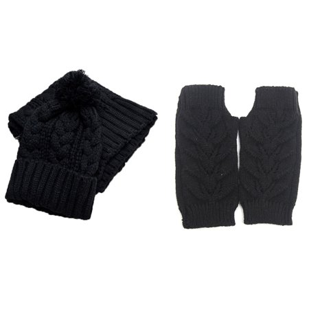 Women Fashion Soft Warm Thick Cable Knitted Hat Scarf & Gloves Winter Set Black