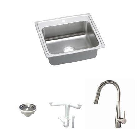 Elkay KF-PSR22191 22-in L x 20-in W Stainless Steel 1 Hole Single Bowl Drop-in Kitchen Sink - 1 Hole 1 Bowl