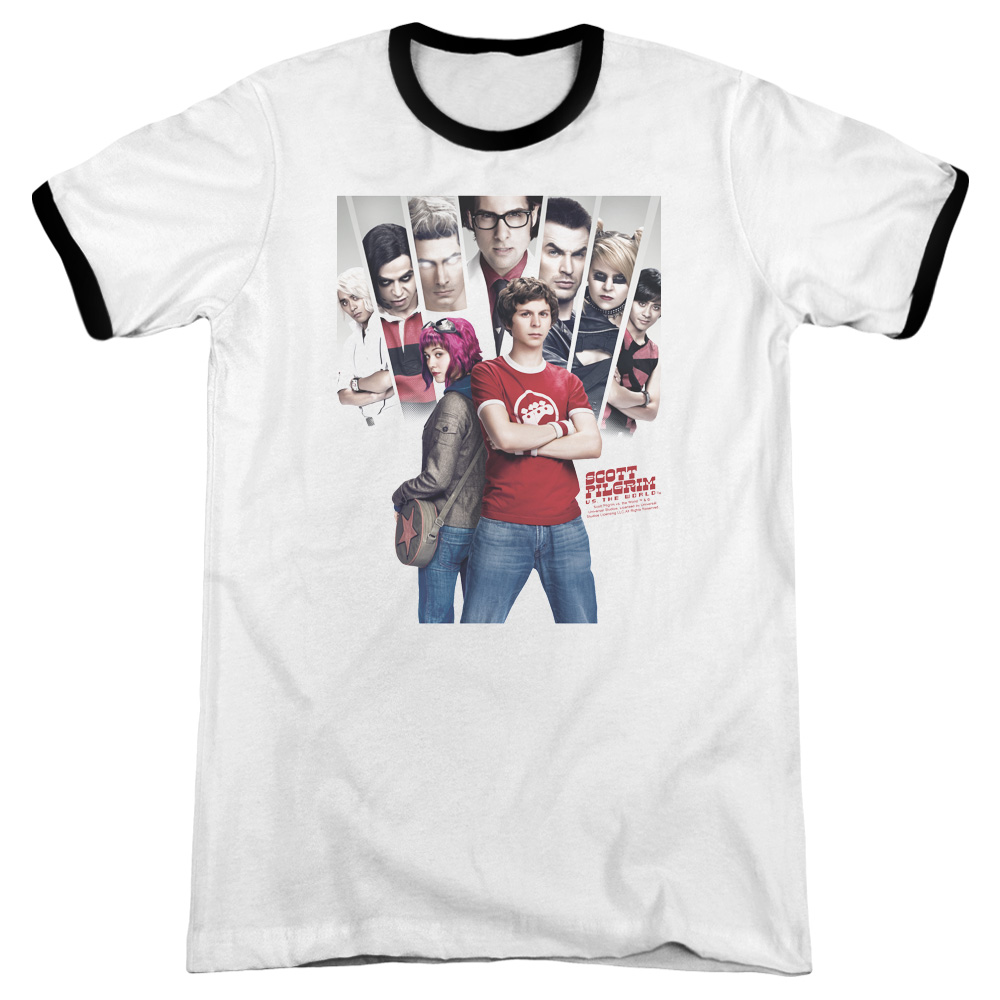 Scott Pilgrim Poster Mens Adult Heather Ringer Shirt