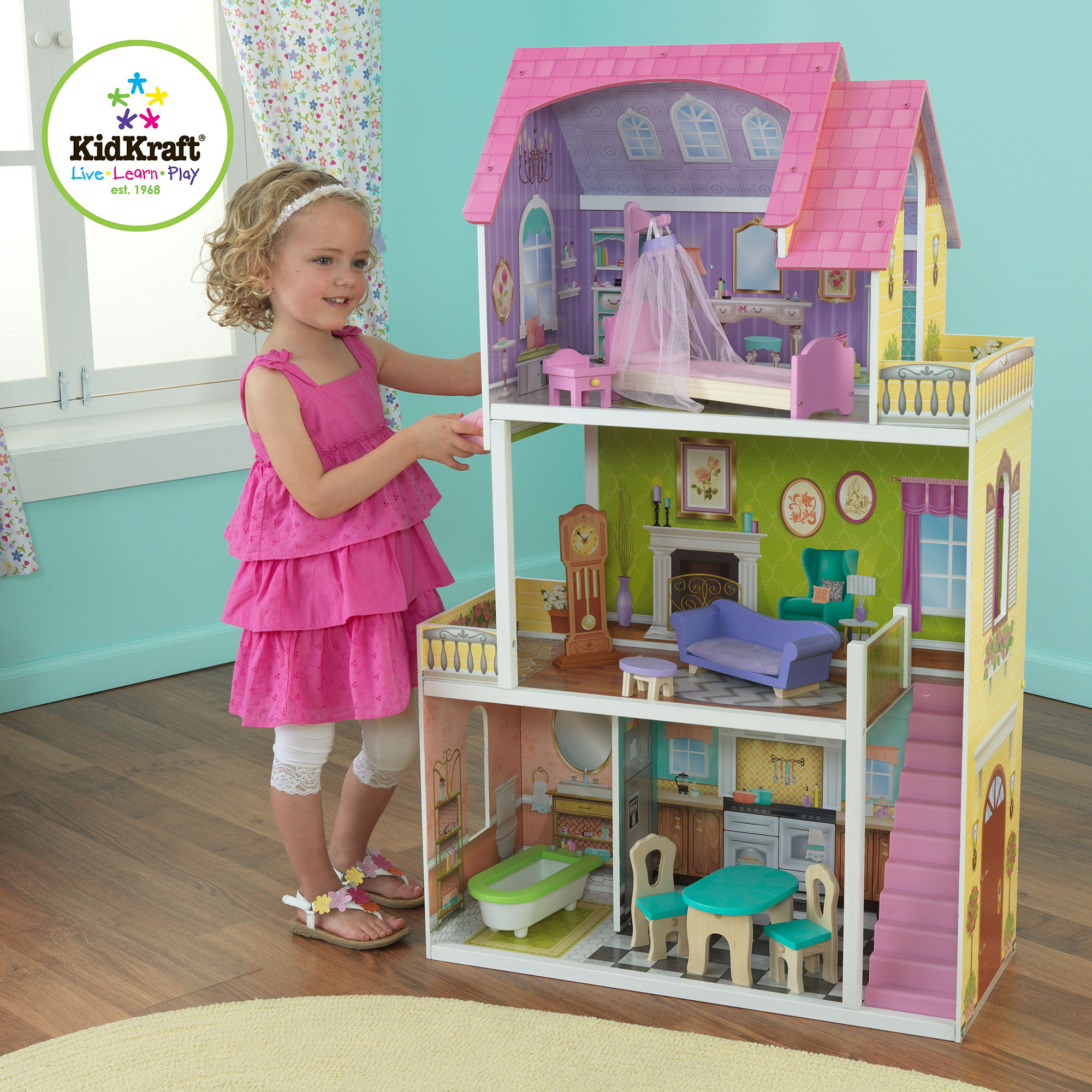 KidKraft Florence Wooden Dollhouse With 10 Pieces of Furniture