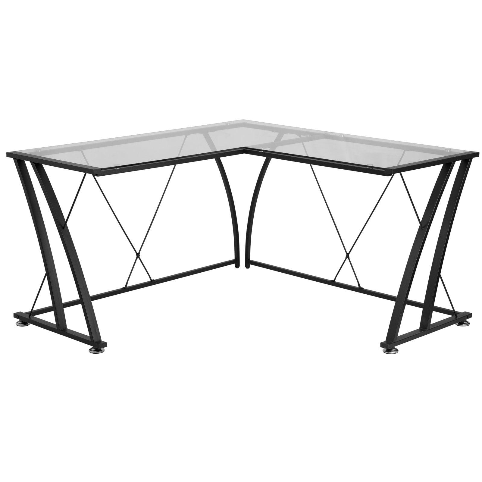 Flash Furniture Glass L-Shape Computer Desk with Black Frame Finish