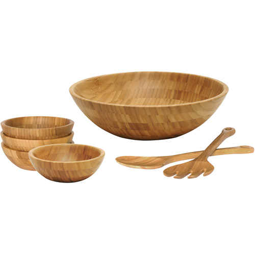 lipper bamboo 7piece round salad bowl set