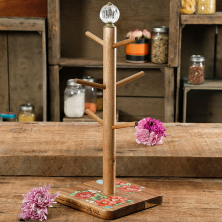 The Pioneer Woman Vintage Floral Mug Tree with Acrylic Knob