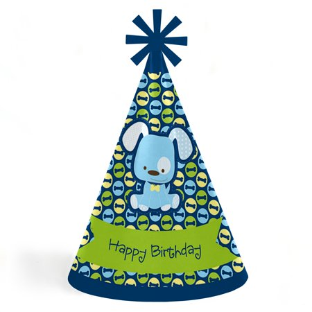 Boy Puppy Dog - Cone Happy Birthday Party Hats for Kids and Adults - Set of 8 (Standard - Birthday Hat For Dog