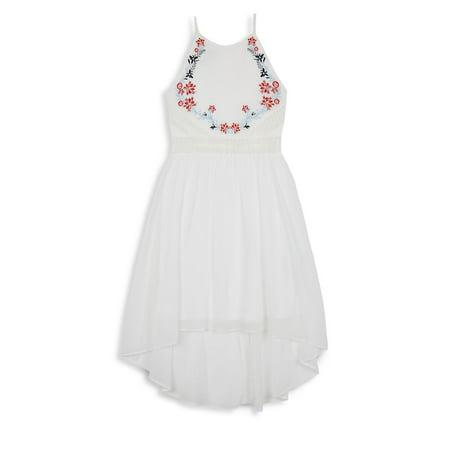 Girl's Floral Embroidered Halterneck Dress - 1960 Clothes