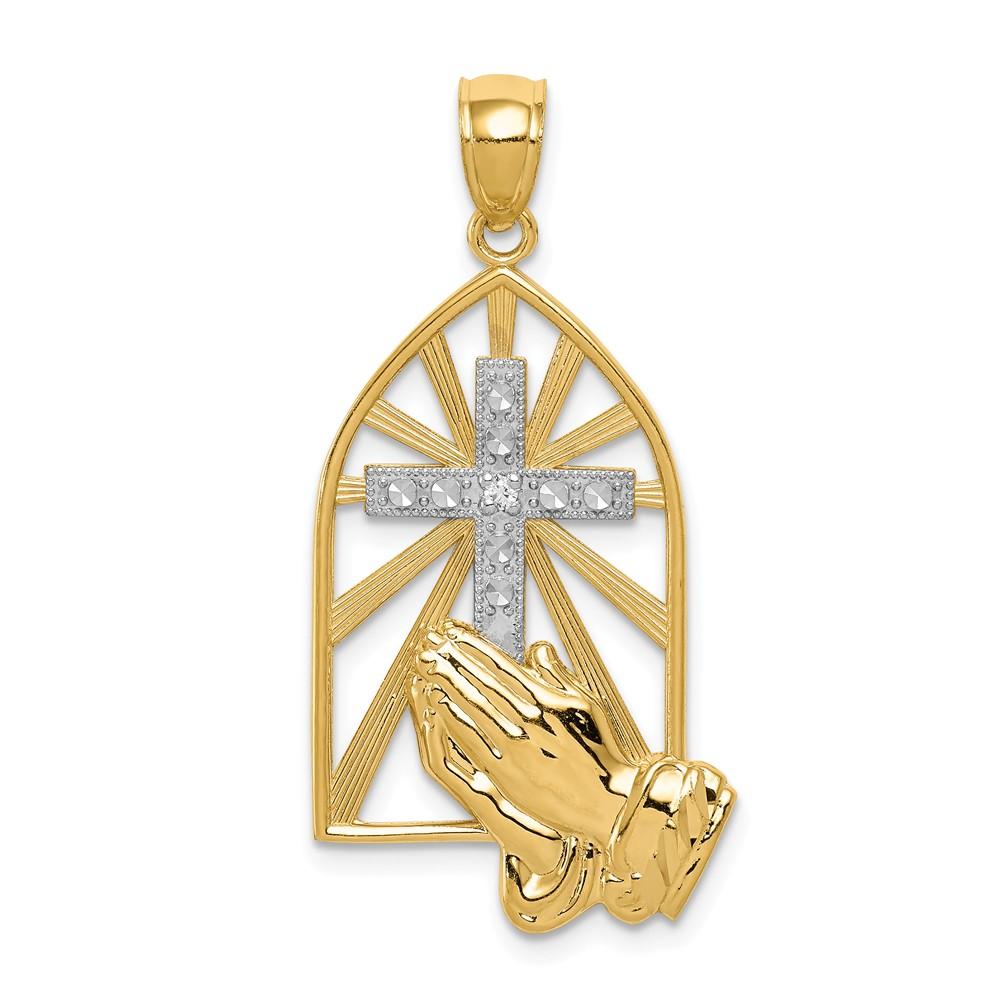 14K Yellow Gold and Rhodium Praying hand Pendant