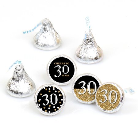 Adult 30th Birthday - Gold - Round Candy Sticker Party Favors - Labels Fit Hershey's Kisses (1 sheet of 108) - 30th Birthday Decor