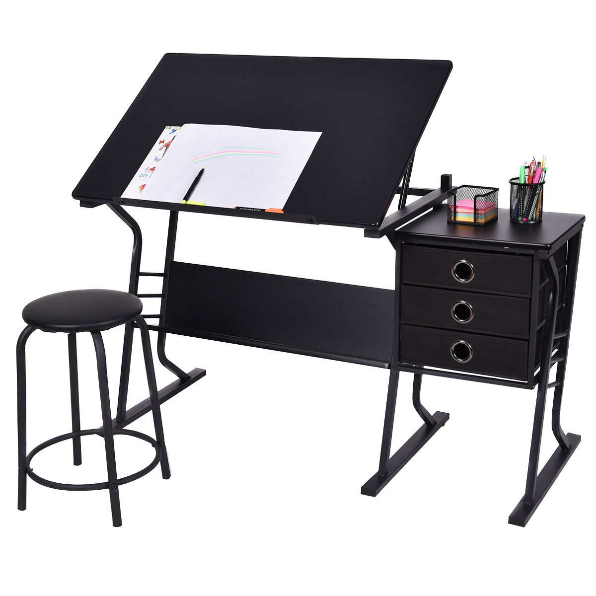 Costway Drafting Table Adjustable Drawing Desk Art Craft Hobby w/ Stool & Drawers Black