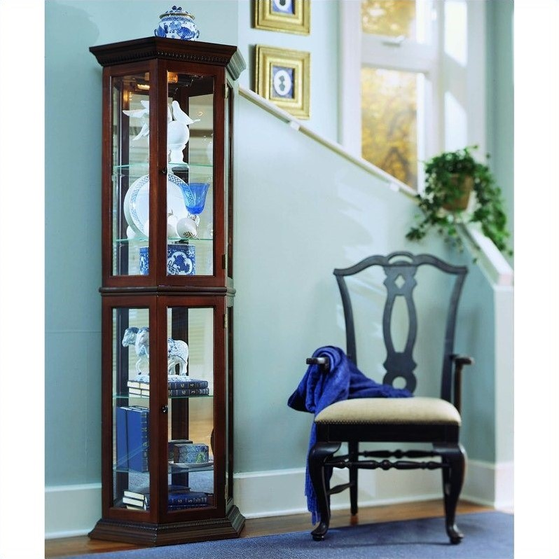 Pulaski Curios Display Cabinet in Rich Brown
