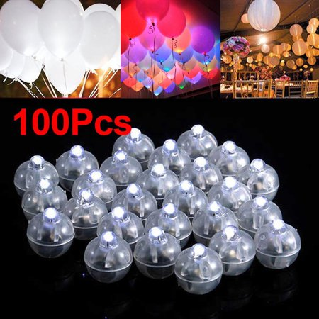 100Pcs LED Ball Lamps Balloon Light for Paper Lantern Wedding Party Decoration White