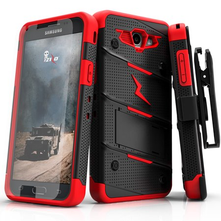 Zizo BOLT Series compatible with Samsung Galaxy J3 Emerge Case Military  Grade Drop Tested with Tempered Glass Screen Protector Holster