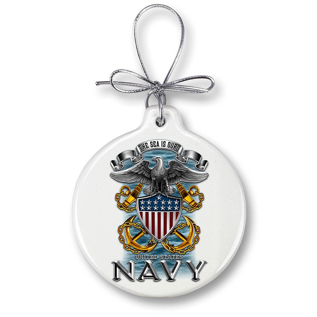 US Navy Full Print Eagle-Christmas Tree Ornaments