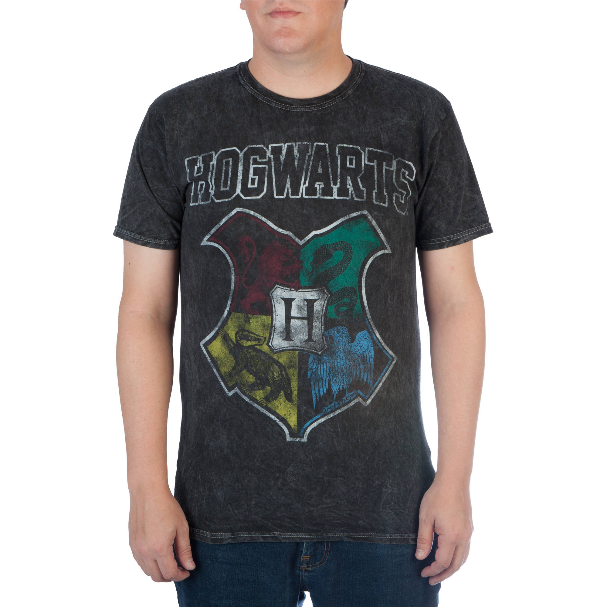 Harry Potter Men's Distressed Hogwarts Crest Graphic Tee