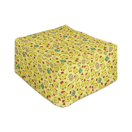 """Animal Rectangle Pouf, Chickens in Various Stances Hatching Reading Eating Crying Sleeping Poultry, Under Desk Foot Stool for Living Room Office Ottoman with Cover, 25"""", Multicolor, by Ambesonne"""