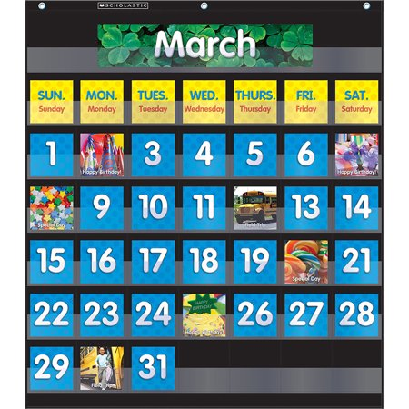 Denim Calendar Chart - POCKET CHART MONTHLY CALENDAR BLACK
