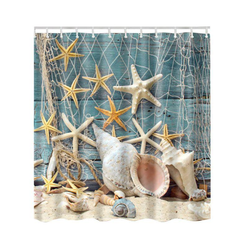 Beach Starfish Shower Curtain Waterproof Fabric Washable Seashell Bathroom Decor Digital Printed Curtain With Hooks Walmart Com Walmart Com