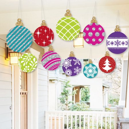 Hanging Colorful Ornaments - Outdoor Holiday and Christmas Hanging Porch and Tree Yard Decorations - 10 Pieces ()