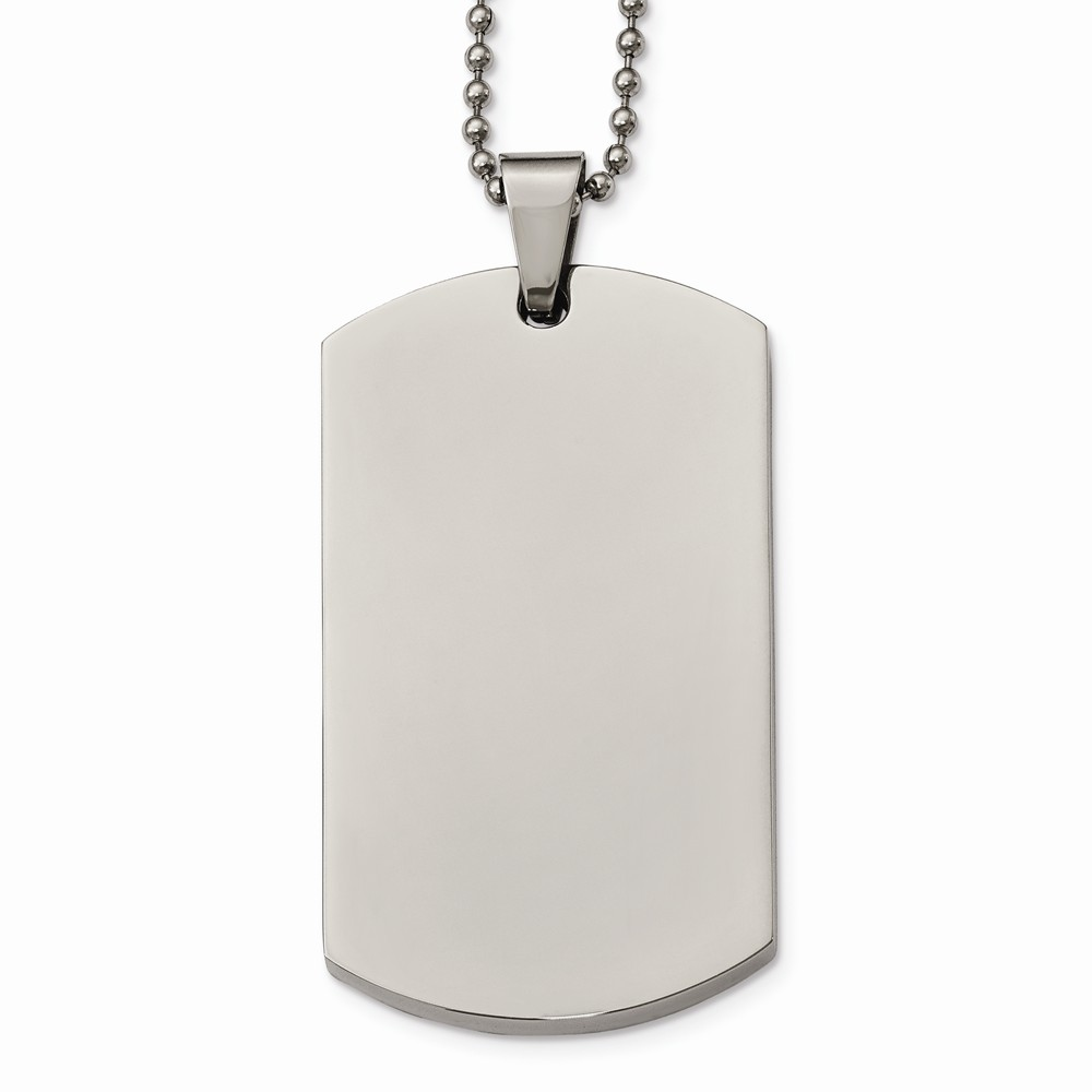 Stainless Steel Polished Rounded Edge XLarge 4mm Thick Dog Tag Necklace