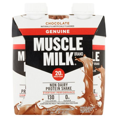 Muscle Milk Genuine Chocolate Non Dairy Protein Shake 4 X 11fl Oz