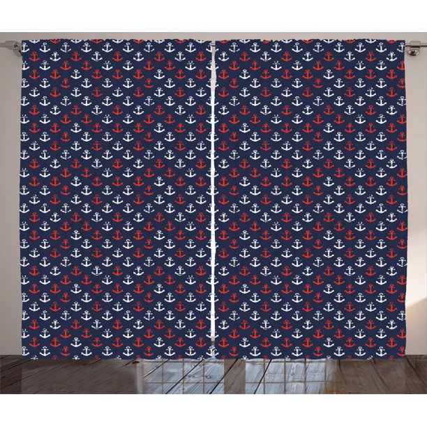 Anchor Curtains 2 Panels Set Abstract Sea Theme With Grunge Display Worn Looking Marine Icons Window Drapes For Living Room Bedroom 108w X 90l Inches Dark Blue White Vermilion By Ambesonne