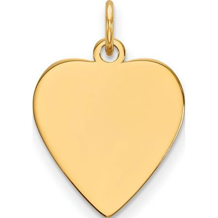 (14k Yellow Gold Plain .035 Gauge Heart Engravable Disc Pendant / Charm)