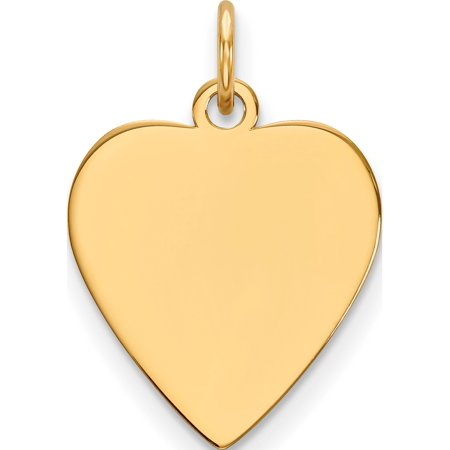 14k Yellow Gold Plain 9 Gauge Heart Engravable Disc Pendant / Charm