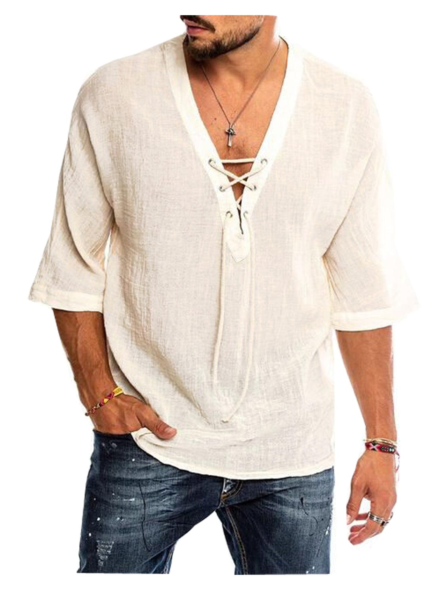 Men Baggy Cotton Linen Solid Pocket Short Sleeve V-Neck T Shirt  Blouses M-3XL