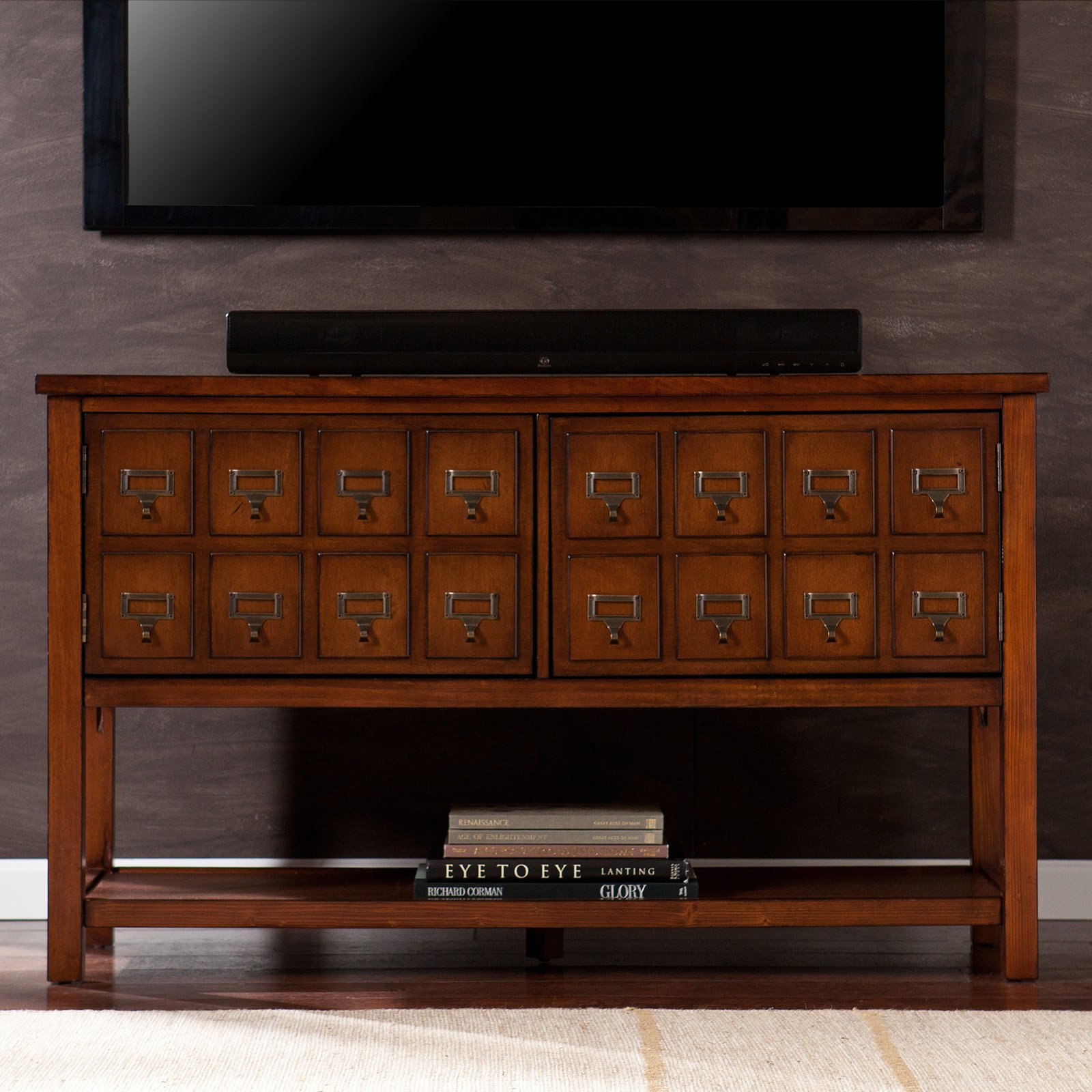 Southern Enterprises Hogart 48 in. Apothecary TV Stand - Brown Mahogany