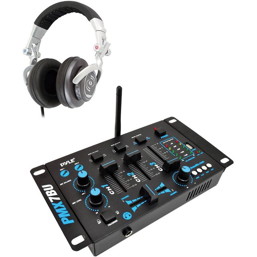 Pyle Pro PMX7BU 3-Channel Bluetooth DJ Mixer with Pyle Pro PHPDJ1 Professional DJ Turbo... by Pyle