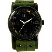 Mens Archer Analog Stainless Watch - Green Leather Cuff - Black Dial - T2065-GR