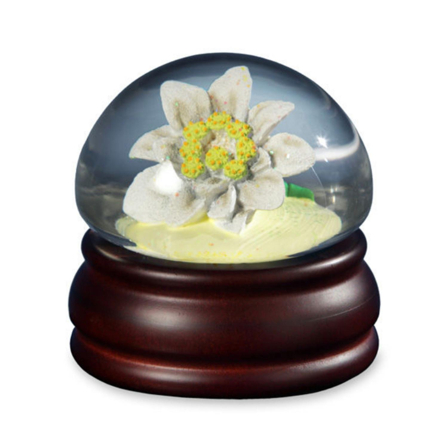 "5.75"" Musical �������Edelweiss"" Enchanting Alps Flower Mushroom Water Globe Glitterdome"