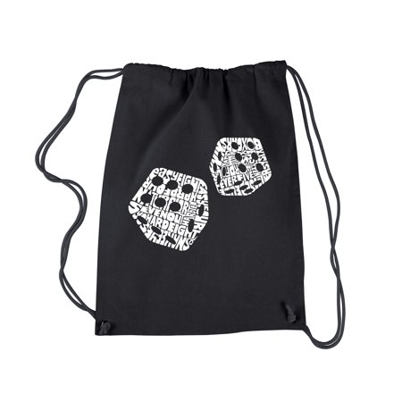LA Pop Art Drawstring Backpack - DIFFERENT ROLLS THROWN IN THE GAME OF CRAPS (Craps Table Accessories)