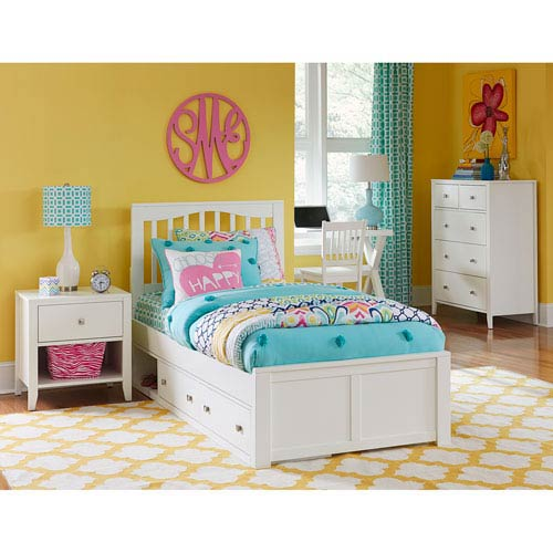 Hillsdale Kids and Teen Hillsdale Pulse Twin Mission Bed with Storage , White