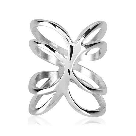 Plate Wave Ring (Silver Plated Polished Open Waved Ring (23mm))