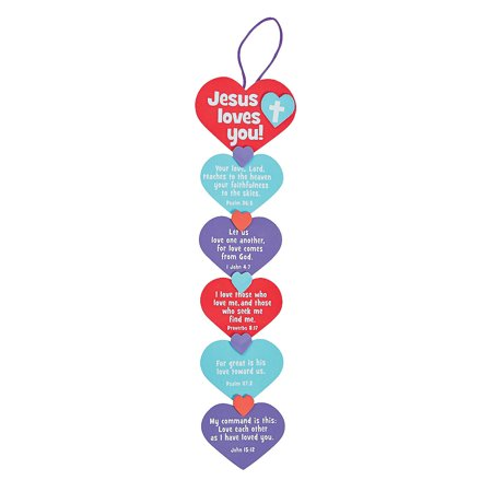Fun Express - The Lord's Love Gimmie Five Craft Kit for Valentine's Day - Craft Kits - Ornament Craft Kits - Misc Ornament Craft Kits - Valentine's Day - 12 Pieces - Crafts For Valentines Day