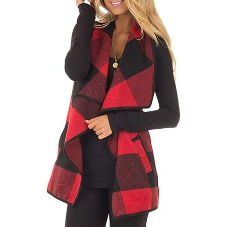 Women Vest Open Front Buffalo Plaid Sleeveless Cardigan Shawl Coat