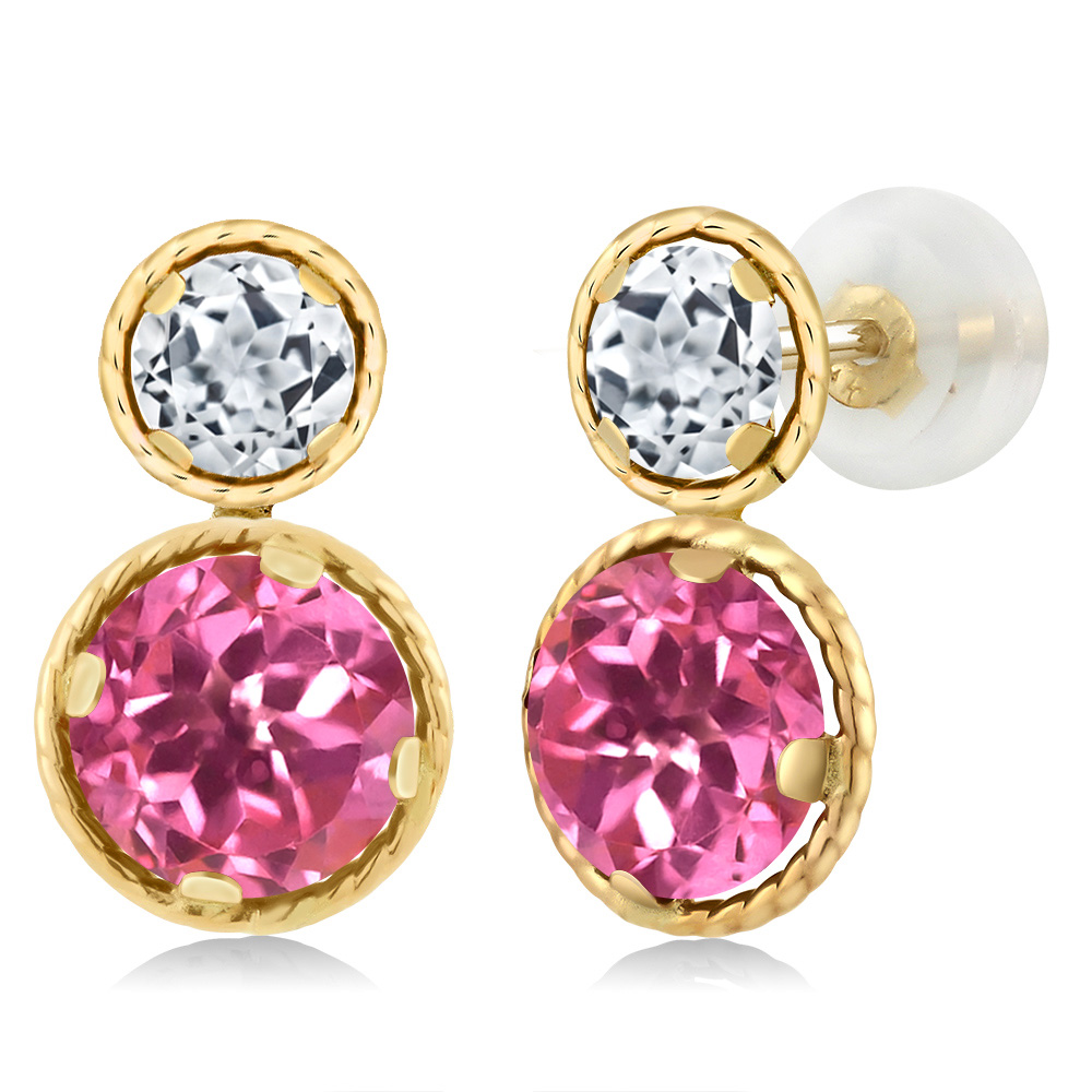 4.30 Ct Round Pink Mystic Topaz White Topaz 14K Yellow Gold Earrings by