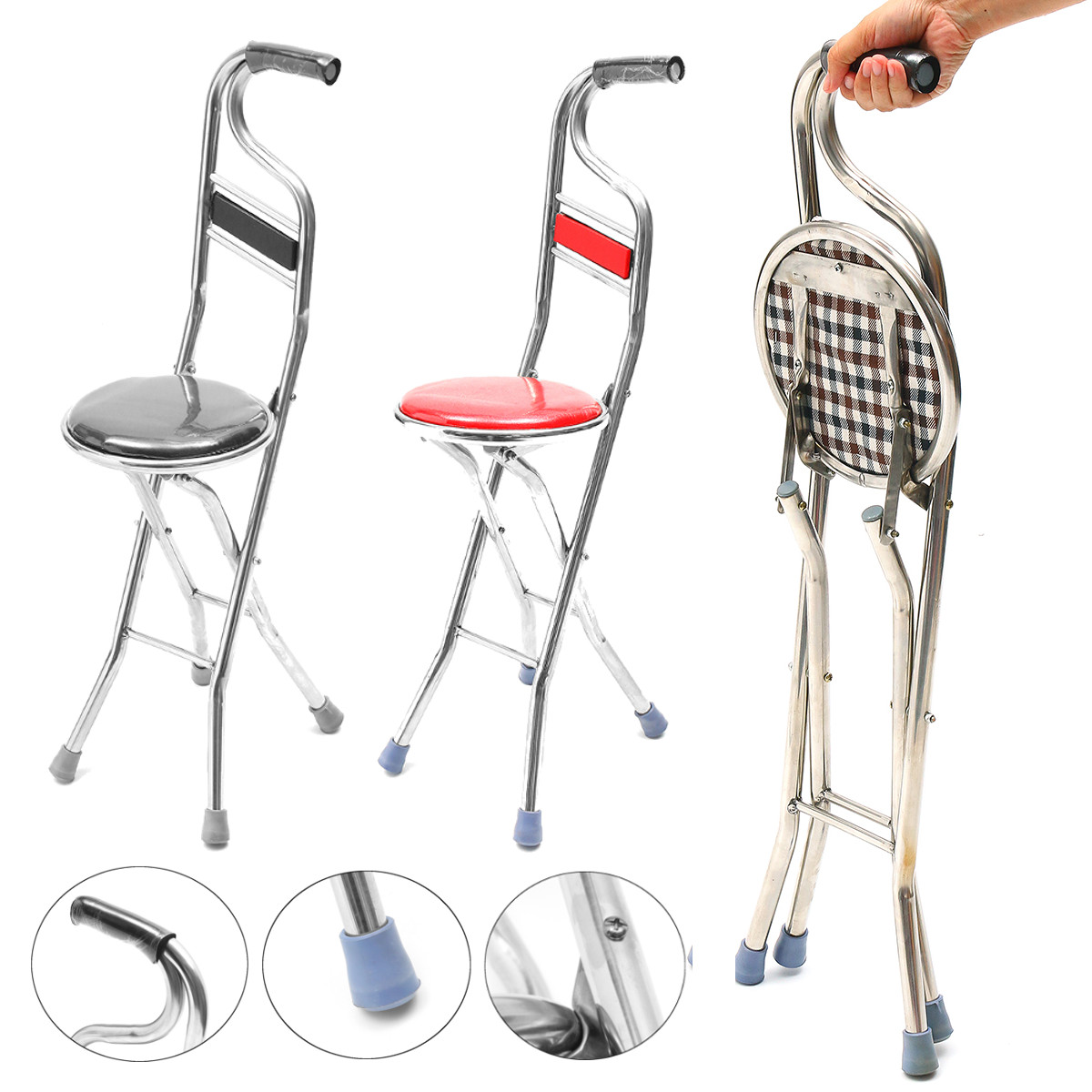 Beau 2 In 1 Adjustable Stainless Walking Cane Stick Elderly Care Portable  Folding Walking Stick Travel Cane With Chair Seat Stool
