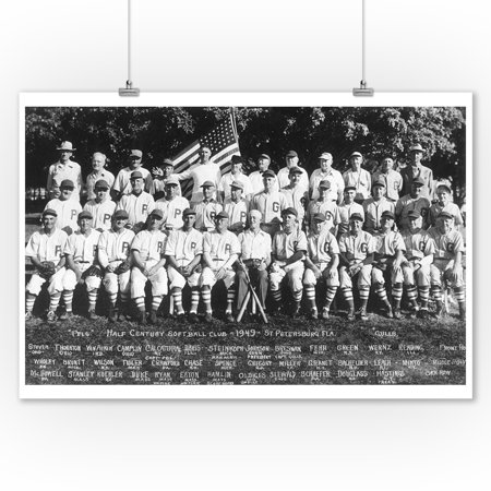 St. Petersburg, Florida - Half Century Softball Club, Pels and Gulls Teams - Vintage Photograph (9x12 Art Print, Wall Decor Travel Poster)