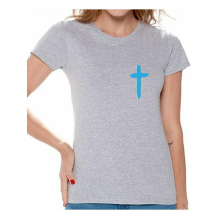Awkward Styles Blue Cross Shirt for Women Christian Cross Clothes for Ladies Following Jesus Womens T-Shirt Christian Gifts Jesus Shirts Jesus Cross Clothing Jesus T Shirt for Her Cross Ladies Shirt