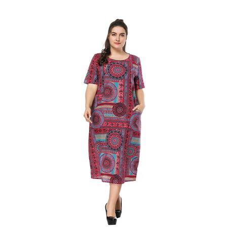 Chinese Collar Dresses (Kenancy Womens Plus Size  Geometrical Print Round Collar Dress)
