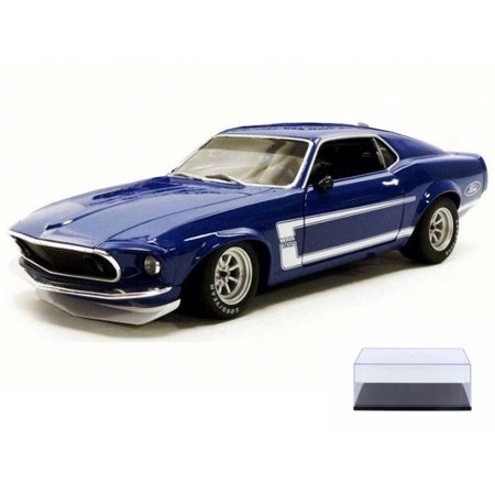 1969 Ford 302 - Diecast Car & Display Case Package - 1969 Ford Mustang Boss 302 Trans Am, Blue - Acme 1801819B - 1/18 Scale Diecast Model Toy Car w/Display Case
