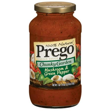 Prego Chunky Garden Mushroom and Green Pepper Sauce, 23.7 OZ (Pack of
