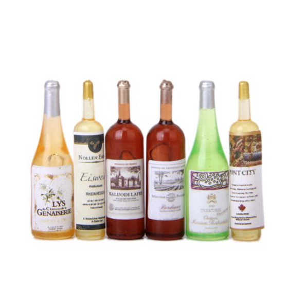 THZY 6Pcs set Doll house wine bottle 1/12 handmade accessories