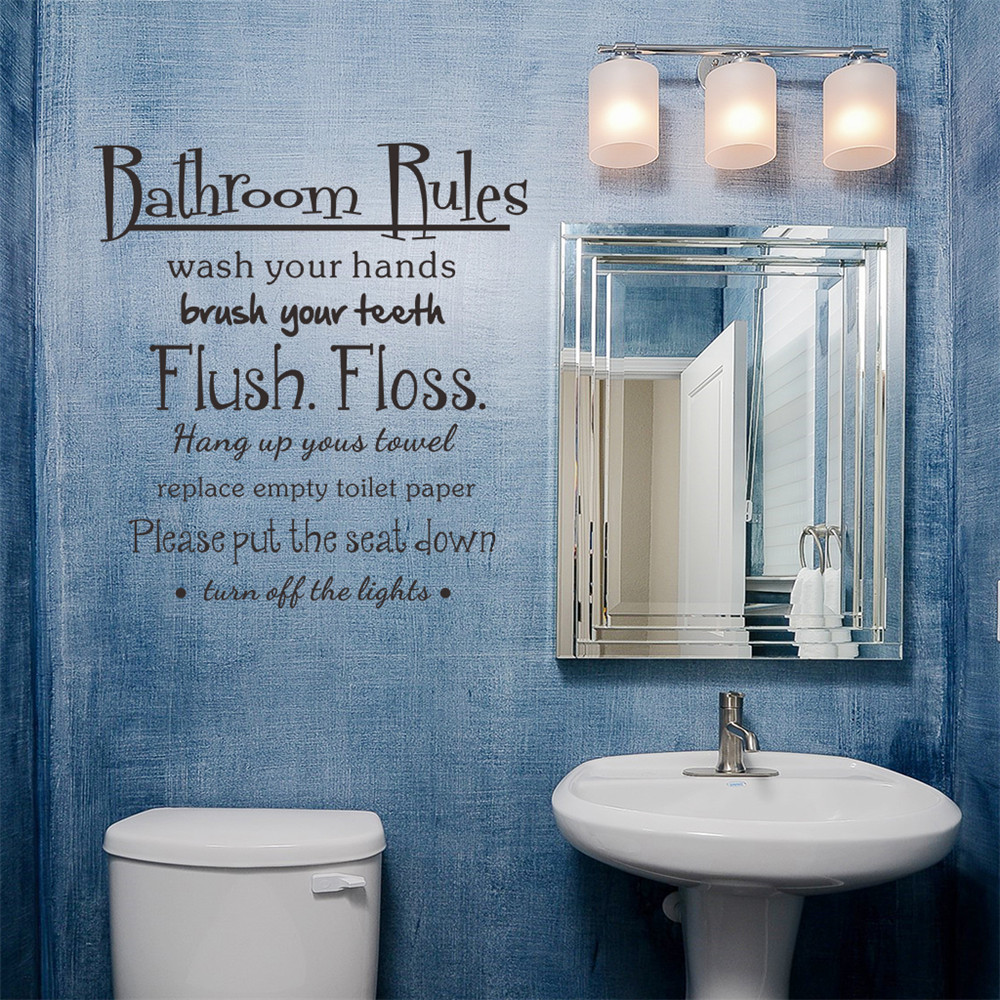 Bathroom Rules Wash Vinyl Wall Home Decor Decal Quote Room Inspirational Cute