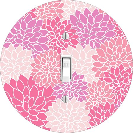 Baby Nursery Pink Flower Petal Blooms Round Hardboard Light Switch Cover for Single Lightswitch
